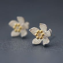 Silver 925 Jewelry Pure Silver Ear Studs Simple Lily Small Ear Studs Popular Chinese style Earrings For Women Fashion jewelry цена