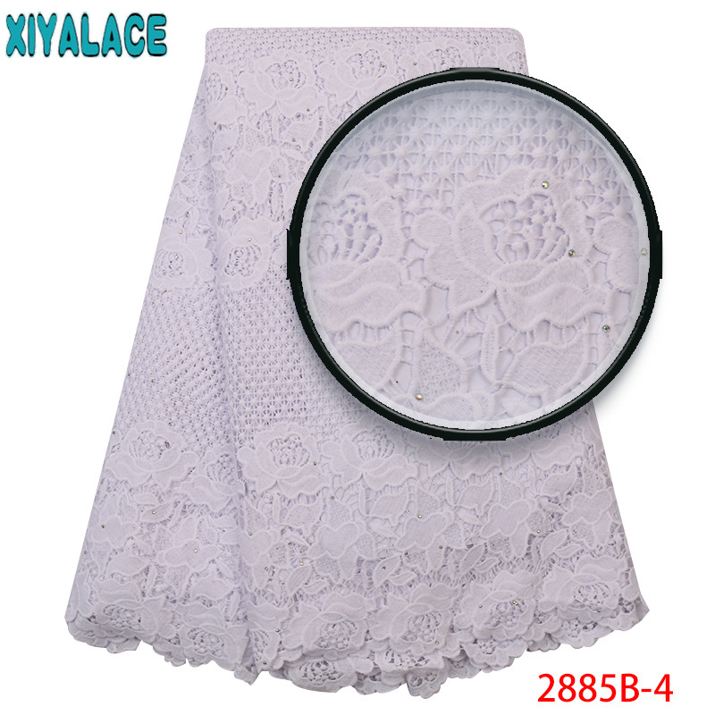 White Voile Lace Fabric Latest,African Cord Lace Fabrics 2019,High Quality Milk Silk Laces With Stones For Dresses KS2885B-4