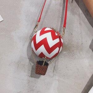 Image 1 - Женская сумка через плечо, в цветную полоску, с принтом воздушного шара