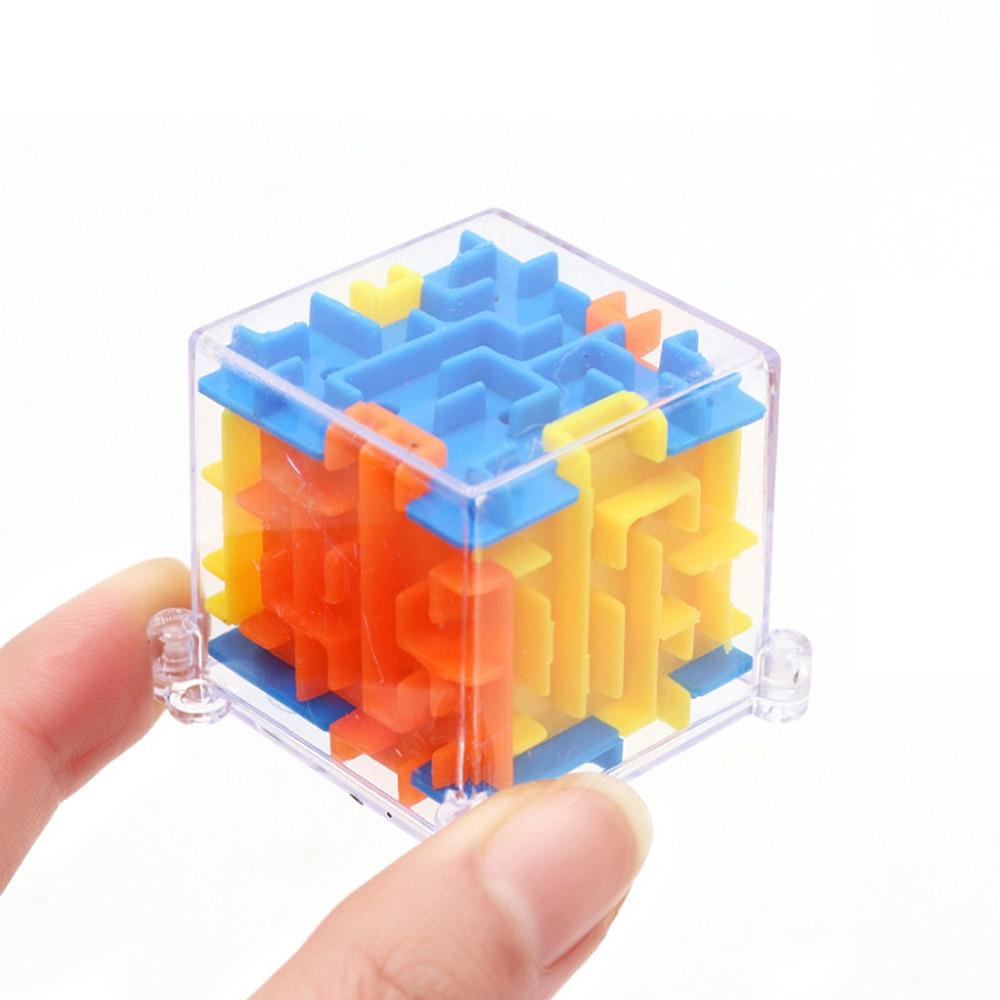3D Mini labirynt magiczna kostka Puzzle prędkość kostki labirynt tocząca się piłka zabawki Puzzle gry Cubos Magicos zabawki edukacyjne dla dzieci