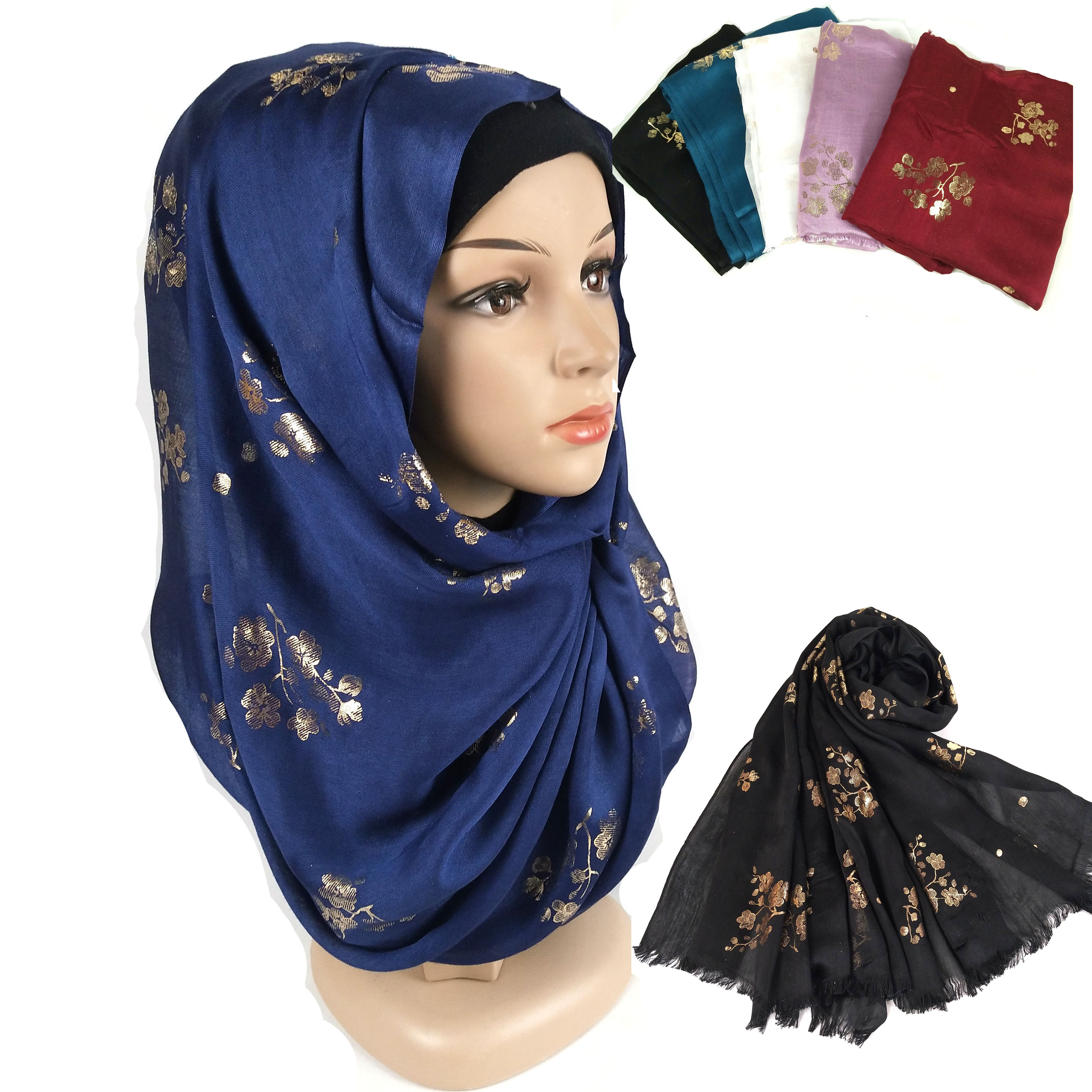 K9 10pcs High Quality Flower Printed Cotton Viscose Hijab Shawl Scarf/scarf Crinkle  Women Wrap Headband Can Choose Colors