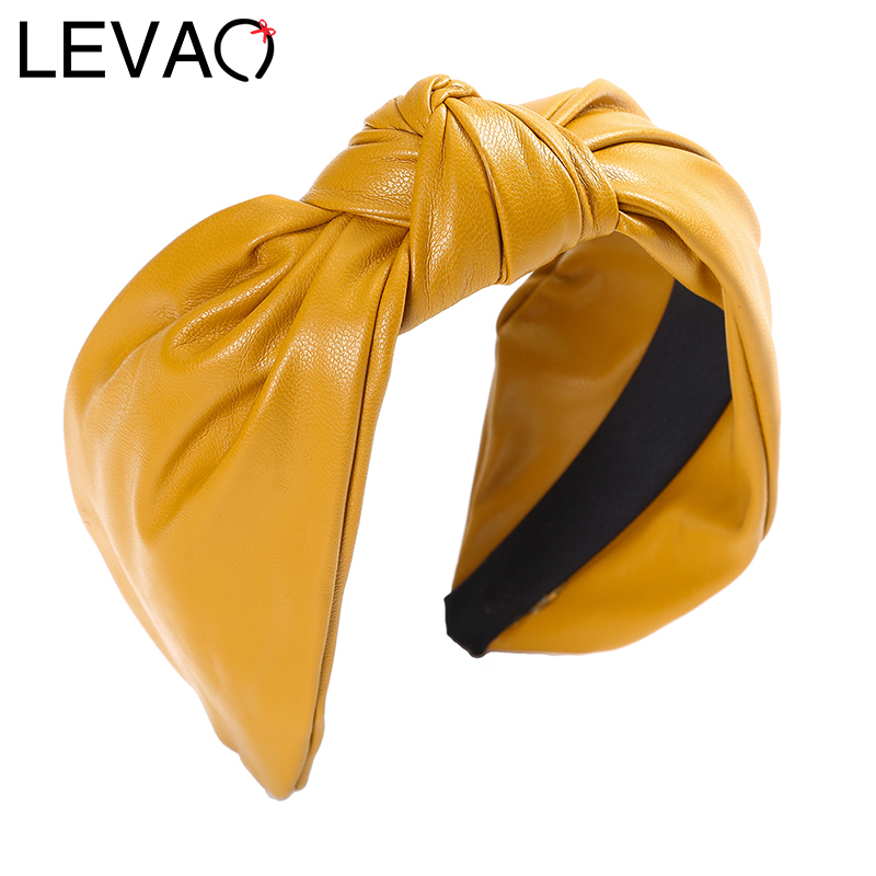 LEVAO Synthetic Leather Hair Hoop Headbands Bezel Turban Women Hairbands Female Solid Girls Hair Accessories Headwear Head Hoop