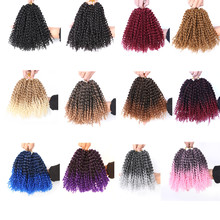 Hywamply 8 #8243 3pcs set Marlybob Kinky Curly Crochet Twist Hair Extensions Synthetic Pink Blonde Ombre Marley Braids Bob Style cheap Low Temperature Fiber 1strands pack