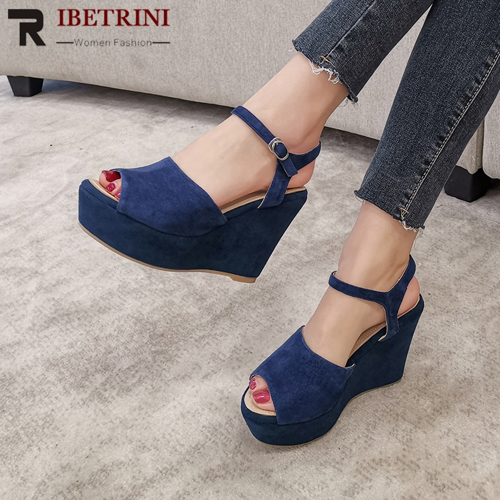 RIBETRINI Brand Kid Suede Female Sandals Platform High Wedges Sandals Women Peep Toe Summer Casual Office Shoes Woman