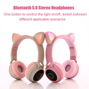 Image 3 - Kids Bluetooth 5.0 Headphones LED light Cat Ears Headset Wireless Earphone HIFI Stereo Bass headphone for Phones with microphone
