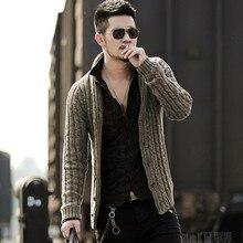 Camisola masculina cardigan manga comprida cardigan camisola casaco J281 2