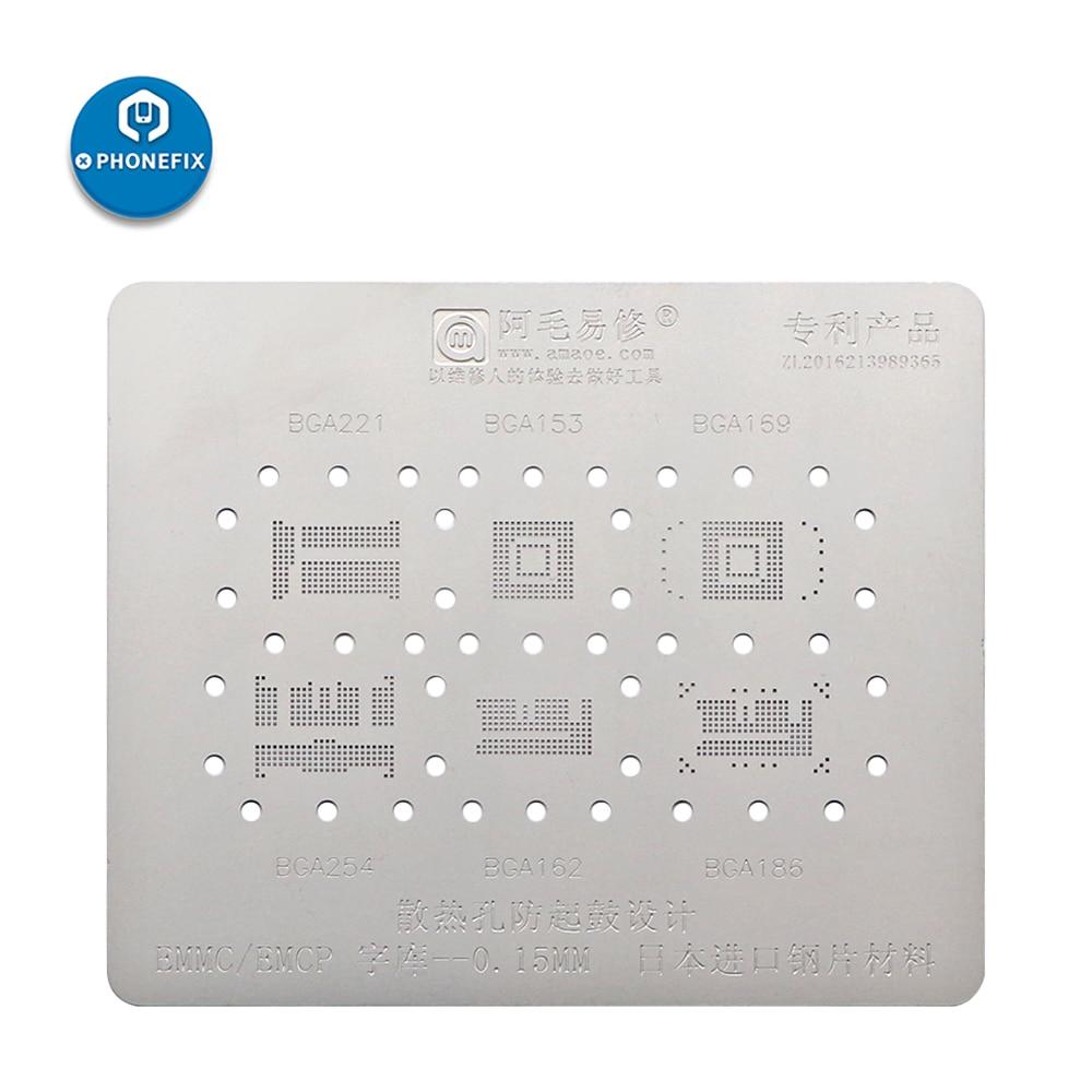 Aletler'ten El Aleti Setleri'de 0.15MM havalandırma önlemek davul 6 In 1 BGA Reballing şablonlar BGA153 162 186 254 EMCP EMMC doğrudan ısıtma şablonu iPhone için ön IC title=