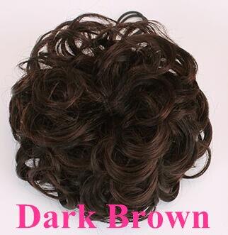 Шнурок шиньоны конский хвост наращивание волос булочка шиньон для создания прически бразильские человеческие волосы булочка пончик шиньоны волосы кусок парик не Реми - Цвет: Dark Brown Curly