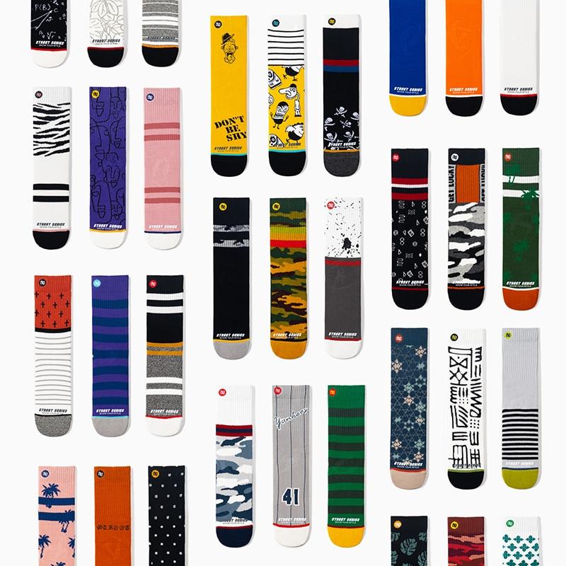 Unisex Streetwear Women Socks 100 Cotton Harajuku Happy Crew Socks Women 1 Pair Size EU36-44 Van Gogh