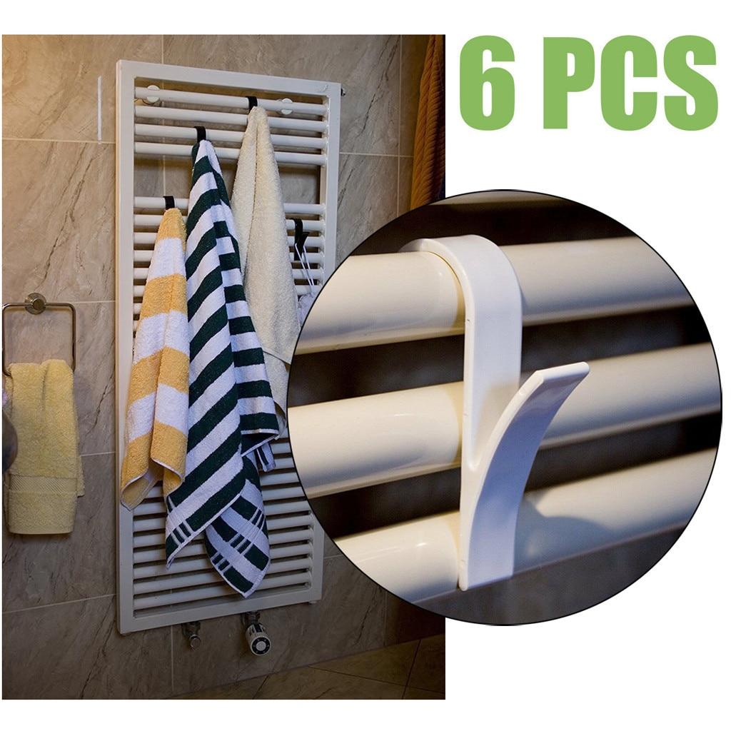 6pcs High Quality Hanger For Heated Towel Radiator Rail Bath Hook Holder Clothes Hanger Percha Plegable Scarf Hanger White