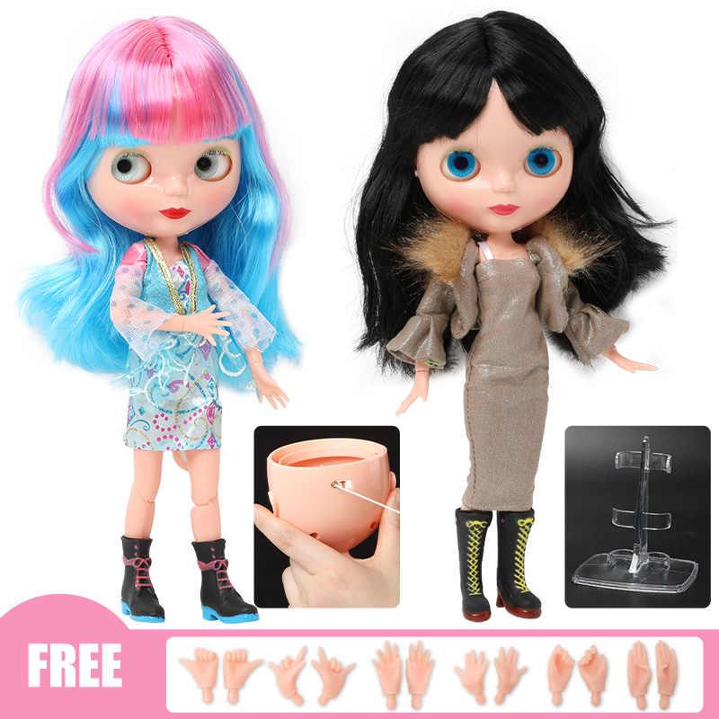 30cm מפרקים BJD בובות לילדה אופנה Blyth בובת צבע ארוך שיער DIY אקראי שינוי עיני צבע איפור צעצועים עבור בנות מתנות