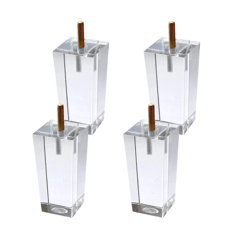 4Pcs/Set 100mm Acrylic Furniture DIY Legs Clear Glass Bookcase Feet For Coffee Table End Tables Sideboard Buffets Footstool Cabi