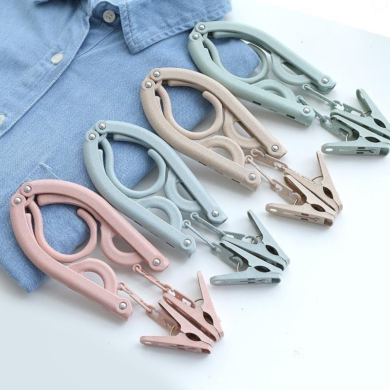 Portable Folding Plastic Wheat Straw Coat Clothing Travel Foldable Hanger