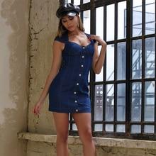 JYSS zarif seksi mavi kot yaz elbisesi kolsuz v boyunluk mini kılıf elbiseler kadın parti gece 20003