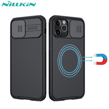 Dla iphone 12 Pro Max magnetyczny futerał NILLKIN Camshield Pro osłona magnetyczna aparatu kompatybilna z ładowarką MagSafe tanie i dobre opinie CN (pochodzenie) Częściowo przysłonięte etui Magnetic and Camera Protection Urządzenia iPhone Apple IPhone12 IPhone12 Pro