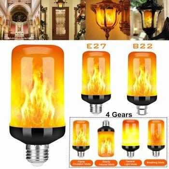 E27 B22 99LED Flame Lamps 4 Modes LED Flame Effect Light Bulb Flickering Emulation Fire Light LED Bulbs 85-265V