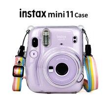 Fujifilm Instax Mini 11 인스턴트 카메라 투명 Instax 미니 캐리 케이스 백 크리스탈 하드 커버 (어깨 끈 포함)