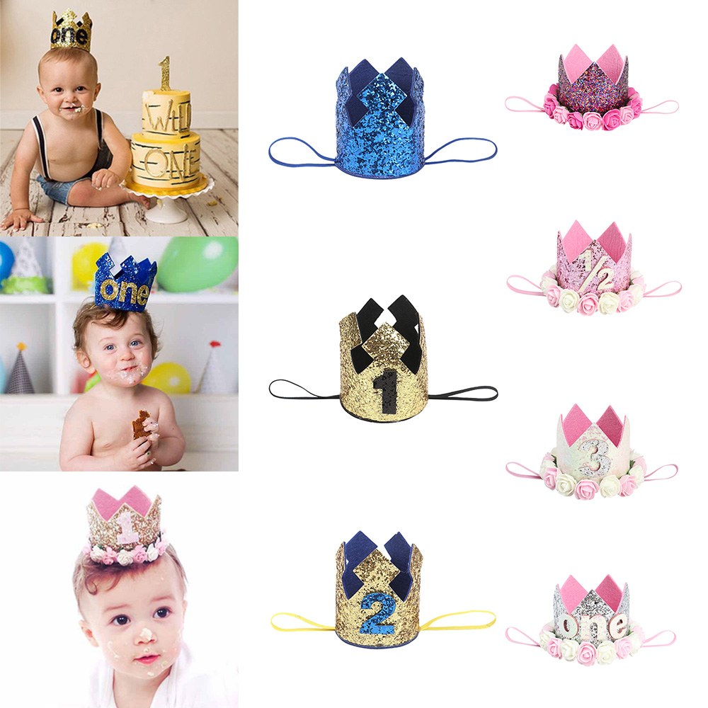Toddler Birthday Hats One First Baby Birthday Hat Sequins Princess Crown Cap Girls Birthday Party Accessories For 1-3 Years Old