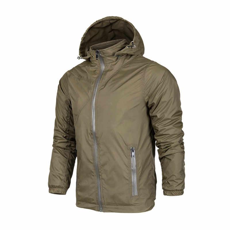 남자의 얇은 재킷 봄 가을 남성 캐주얼 오버 코트 군사 윈드 브레이커 자켓 남자 스포츠 후드 재킷 방수 야외 남자