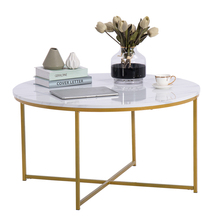 Two Colors [90x90x48.5cm] Marble Simple Round Coffee Table Side Table