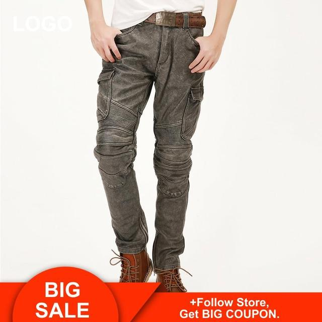 2020 Vintage Grey Men American Casual Style Motorcycle Leather Trousers Plus Size 4XL Genuine Thick Cowhide Pants FREE SHIPPING 1