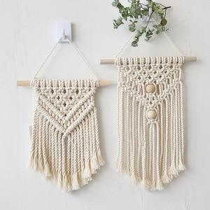 Image 1 - 北欧マクラメ壁掛け手織り綿小壁タペストリー子供のベッドルームヘッドボード写真の小道具自由奔放に生きる装飾