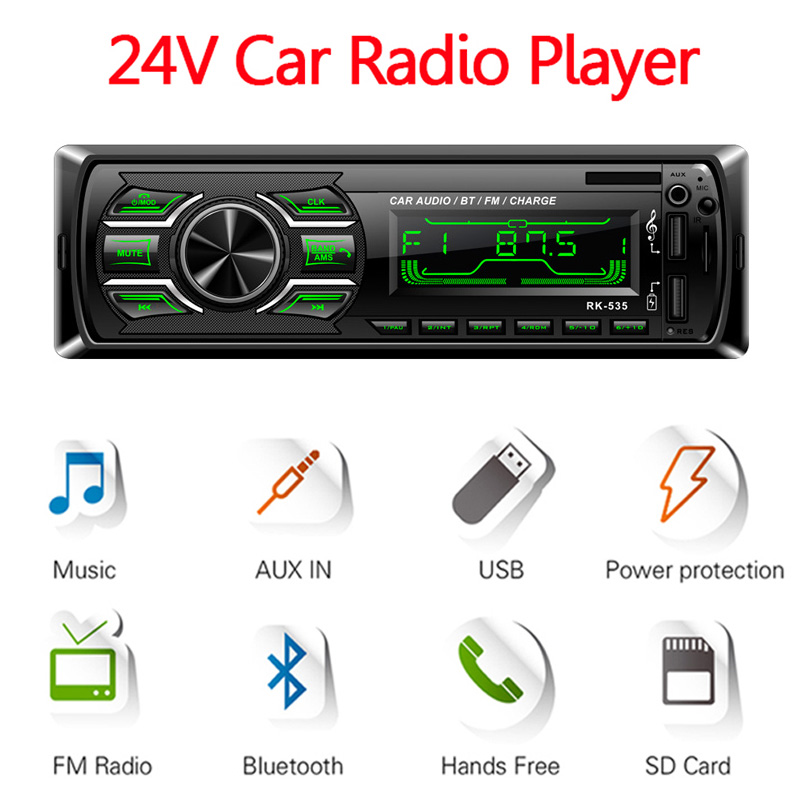 RK-535 1 Din Car Radio FM DC 24V Fixed Panel Auto Audio Bluetooth MP3  Player Two USB Charger TF Card Reader AUX SWC Remote