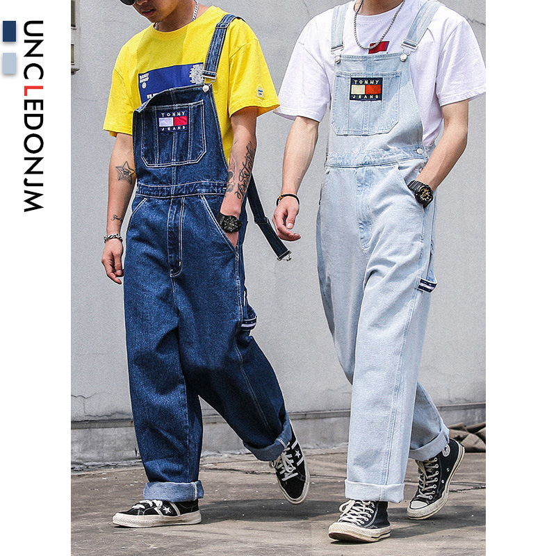 UNCLEDONJM Denim Rompers Mens Single Breasted Jumpsuit Cargo Jean Overalls New One Piece Suits Romper Loose Fit Overalls B02