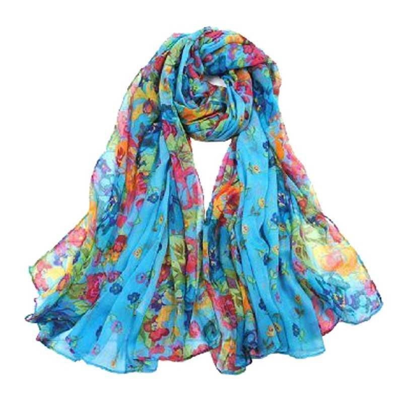 女性の春の秋のファッションブルーソフトビッグヴィンテージ印刷スカーフ 160*50 センチメートル