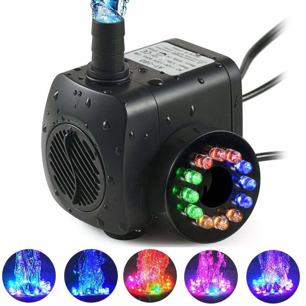 <font><b>110V</b></font> 220V Submersible <font><b>Water</b></font> <font><b>Pumps</b></font> for Aquarium Fish Tank Garden Pond Statuary Outdoor Fountain <font><b>Pump</b></font> with 12 PCS RGB LED Lights image