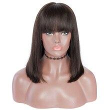 Короткие парики из натуральных волос на кружеве для женщин, бразильские прямые волосы Remy 13x4 13x6, парики из натуральных волос на кружеве с челкой