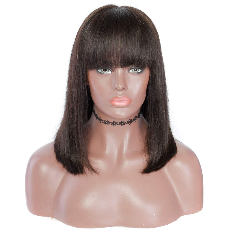 Short Lace Front Human Hair Wigs For Women Brazilian Straight Remy 13x4 13x6 Bob Lace Front Wigs With Bangs PrePlucked Baby Hair