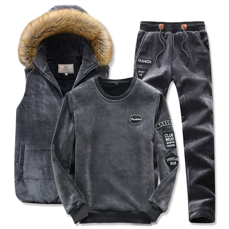 2019 Men's Winter Sporting Suit Hooded Vest+Sweatshirt+Pants Plus Thick Velvet Sportswear 3 Piece Set Tracksuit For Men Clothing
