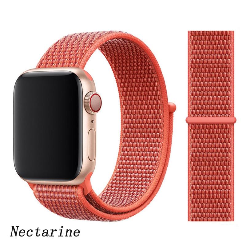 Спортивная петля ремешок apple watch band 42 мм 38 мм apple watch 4 3 band iwatch band 44 мм 40 мм correa pulseira 42 44 нейлоновый ремешок для часов - Цвет ремешка: NEW Nectarine