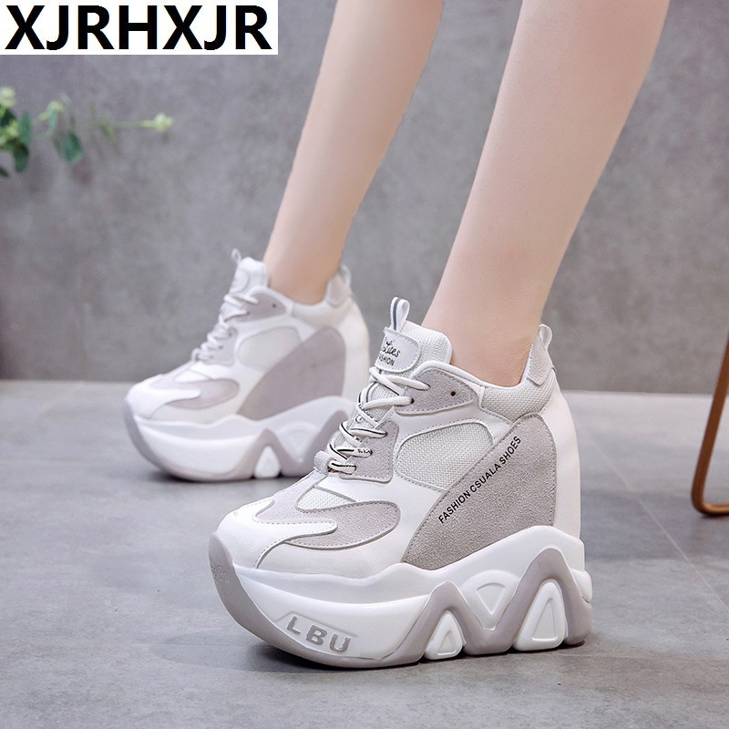 New 2019 Fashion Autumn Platform Casual Shoes Slim Thick Sole Sneakers Breathable Woman Flat Heels Mesh Shoes 13cm White Shoes