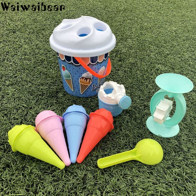 Kids Beach Sand Toys Ice Cream Sand Models Bucket Set Playing Kits Play Decorations With Pail For Beach Party Birthday Toy Set