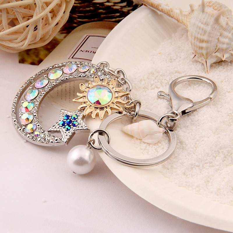 Crystal Gift New Keychain Custom Moon Metal Key Chain Car Accessories Pendant Ornament Hook Keyring  - buy with discount