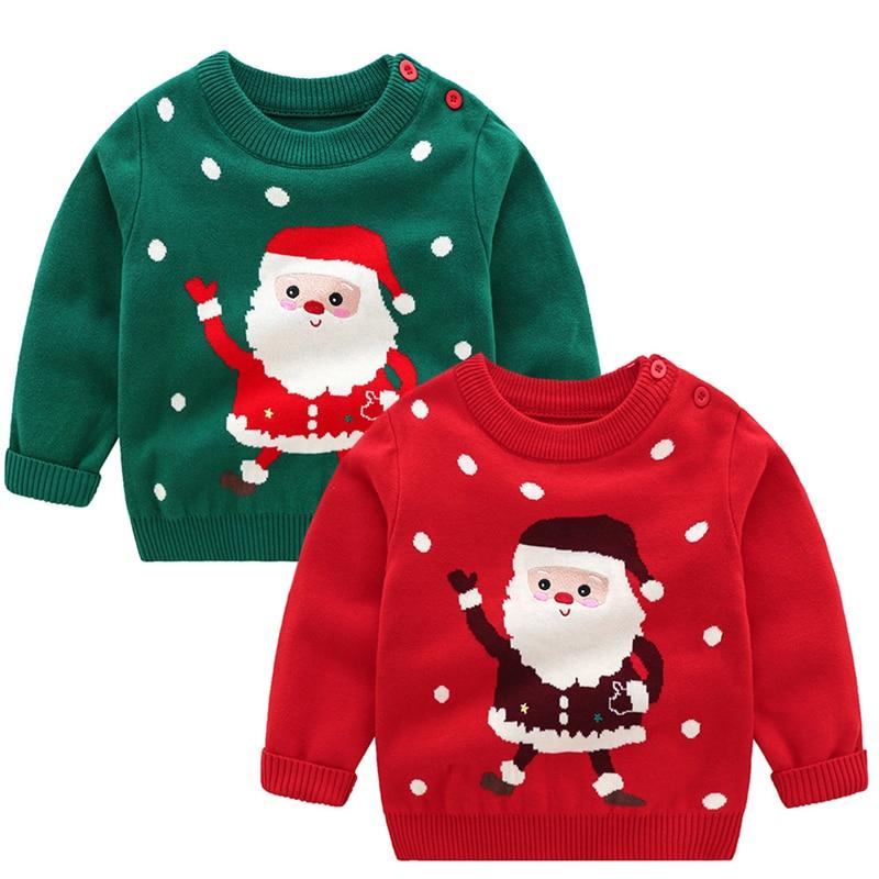 Christmas Baby Boys Girls Long Sleeve Cartoon Sweaters Autumn Winter Kids Cartoon Pullover Coat Baby Boys Girls Sweaters 1