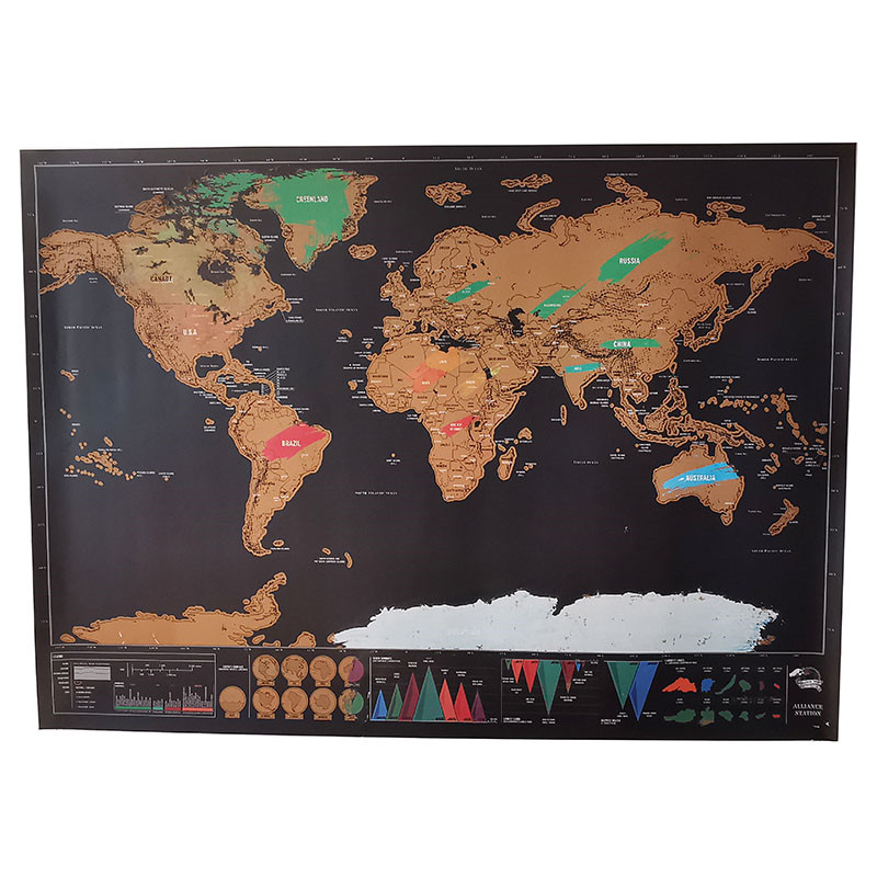 10 Pcs Erase World Travel Map Scratch Off World Map Travel Scratch For Map 82.5x59.4cm Room Home Office Decoration Wall Stickers