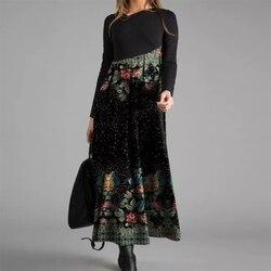 2020 Fashion Maxi Dress Women Elegant O-Neck Floral Print Autumn Long Sleeve Patchwork Trendy Ropa Mujer Talla Grande