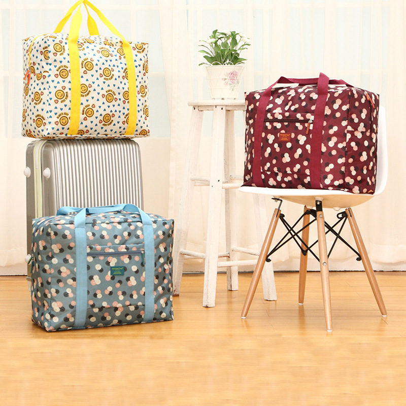 Supply Currently Available Korean-style Printed Travel Bag Waterproof Folding Travel Bag Men And Women Storage Bag OEM Customize