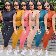 2021 летний сексуальный комплект из двух частей для женщин однотонные Цвет свободного покроя с коротким рукавом; Футболка с О-образным вырезо...