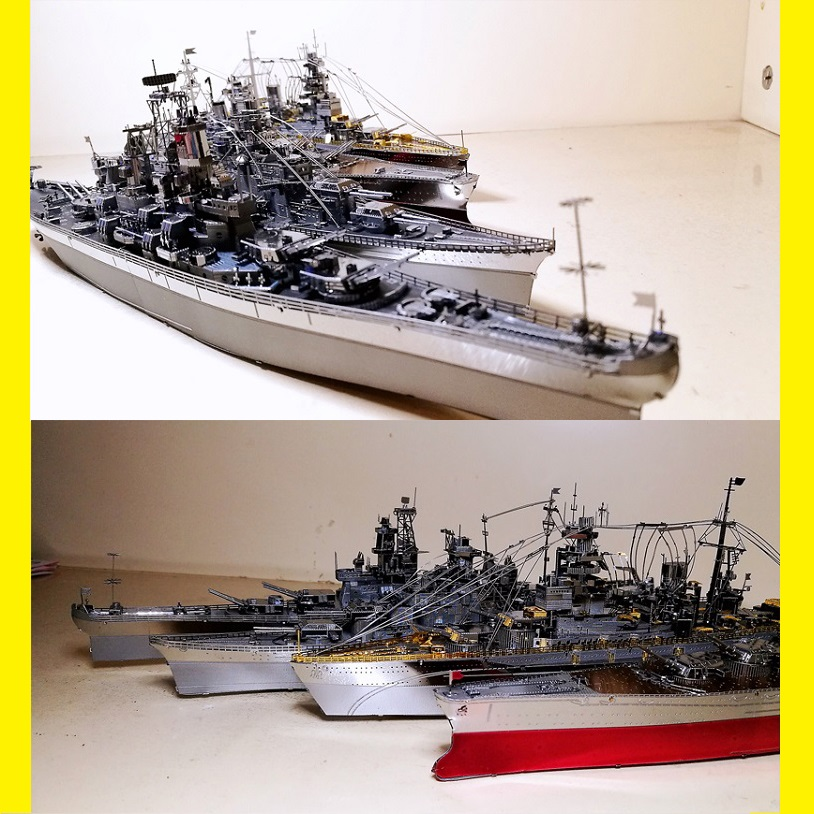 3D Metal Puzzle Class Destroyer Type Warship Model DIY Laser Cut Jigsaw KMS Bismarck Battleship USS Enterprise Missouri Yamato