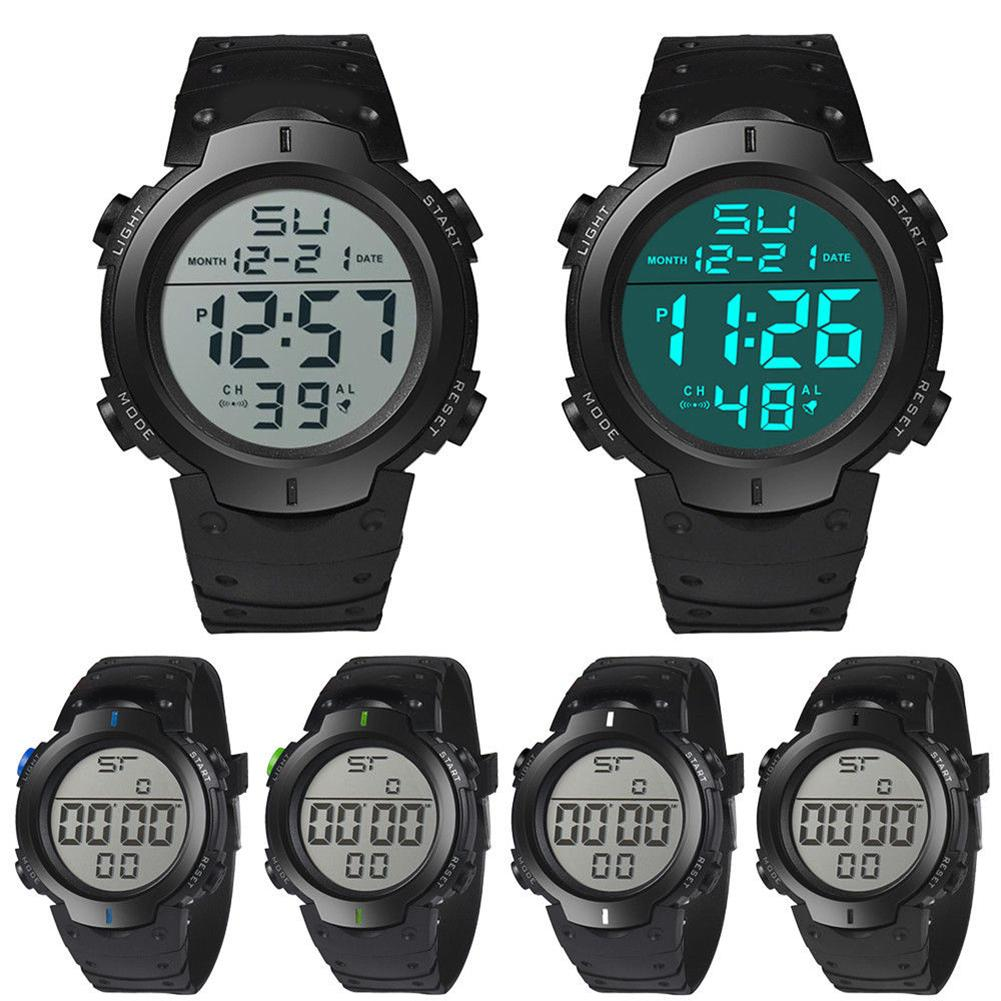 Waterproof LCD Digital Stopwatch Date Rubber Sport Wrist Watch Men's Silicone