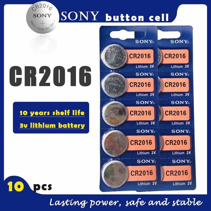 10 шт./лот, оригинальный аккумулятор SONY CR2016, 3 в, литиевые батареи CR 2016 для часов, пульт дистанционного управления игрушкой, компьютер, калькул...