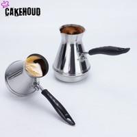 Cakehoud europeu punho longo pote moka turco portátil árabe aço inoxidável pote de café manteiga pote de derretimento utensílios de café Cafeteiras     -