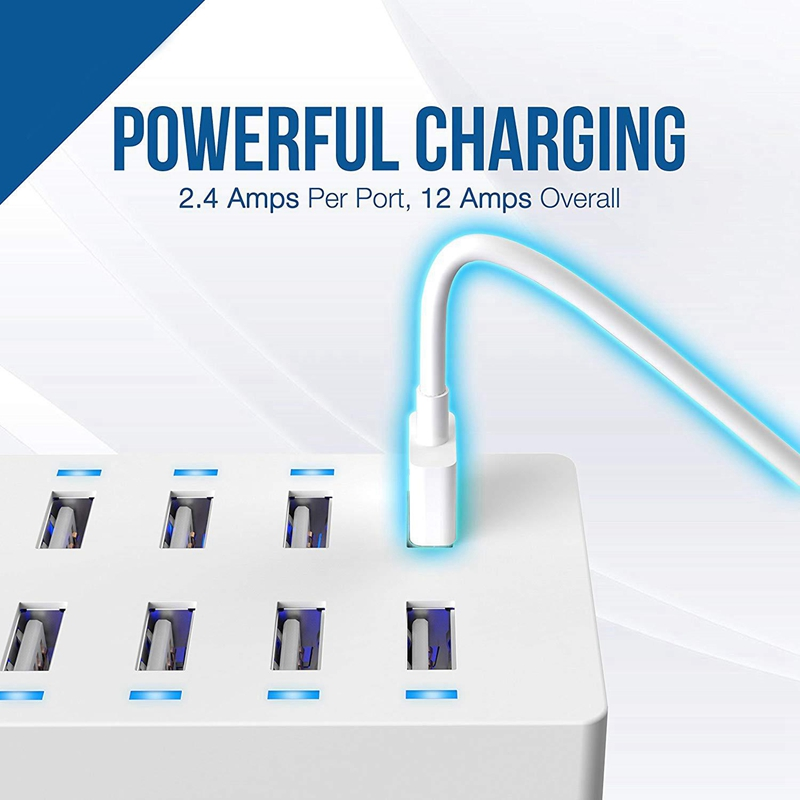60 Watt 12 Amp 10 Port Family Sized Desktop Usb Rapid Charger Smart Usb Charger With Auto Detect Technology Uk Plug in Chargers from Consumer Electronics