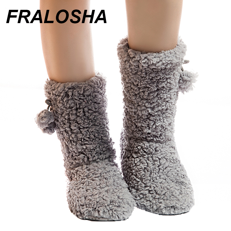 FRALOSHA Thick Plush Warm Indoor Slippers  Women's Cotton-padded Shoes Non-slip Soft Bottom Home Shoes Slippers