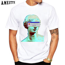 Vaporwave Blinded Print Punk T-Shirt Casual Tops Funny Boy White Tees Summer Fashion Men t-shirt Hipster Cool Short Sleeve(China)