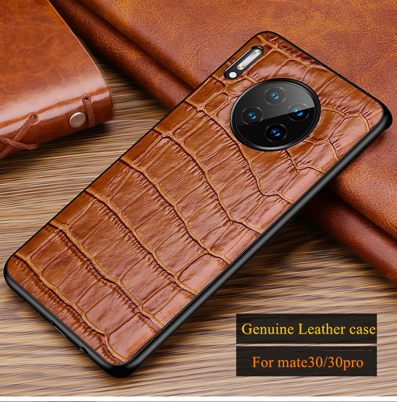 Alligator Grain Genuine Leather Back Cover Case For Huawei Mate 30 Mate30 Pro